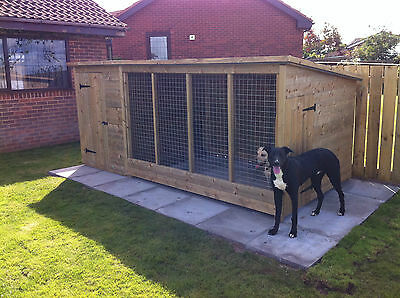 Tanalised Wooden Dog Kennel And Run / Cattery  12Ft X 6Ft
