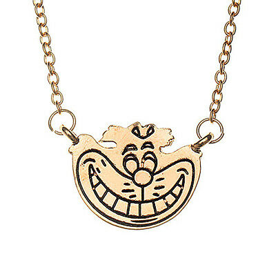 Alice In Wonderland Gold Cheshire Cat Grinning Face Pendant Charm Necklace