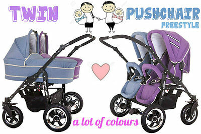 """Twin Puschair """"freestyle"""" Baby Pram Double Pushchair + 1 Or 2 Carrycot"""