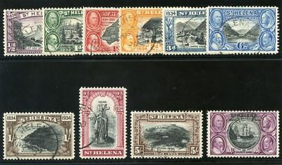 St Helena 1934 KGV Centenary Issue set complete VF used. SG 114-123. Sc 101-110.
