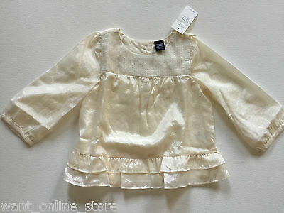 BNWT Baby Gap Sequin Top Ivory Cream 12 - 18 months