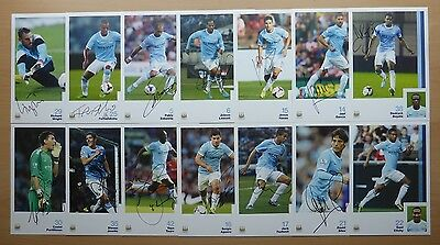 2013-14 Manchester City Signed Official Club Cards - Premier League Winners