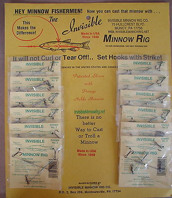 Duty's Invisible Minnow Rig No.2 Made in USA 12 packs on each card 24 total rigs