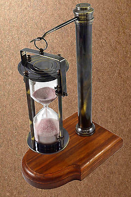 Wooden Brass Antique Hourglass Nautical Maritime Decorative Brass Sand Timer Ss9