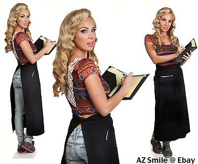 Quality Black Long Bistro Apron w/Organizing Extra Pockets Proudly Made in USA