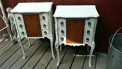 Fabulous Paris Chic Romantic Shabby Curvy Legged Marquetry Antique Nightstands