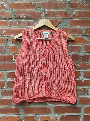 Vintage 90s does 70s Crochet Vest Medium Peach Knit Top Boho Hippie (676)