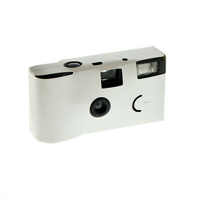 Pack of 5 White Disposable Cameras & FREE PERSONALISED STANDS