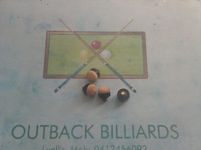 5x 10mm Brown screw-on  POOL SNOOKER cue tip replacements -ONLY FROM OUTBACK