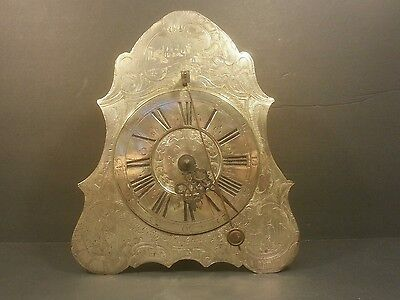 RARE 1780 Johan Georg Nusshard Hand Engraved Silver over Brass Clock - Works