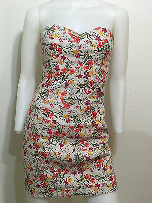 New Vintage Flower Floral Canvas Retro Tube Top Dress Boho Urban Xs