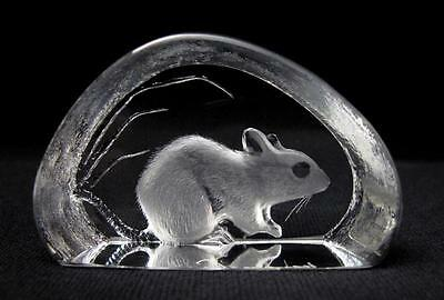 Signed Mats Jonasson Sweden Lead Crystal Mouse Sculpture Wildlife Series