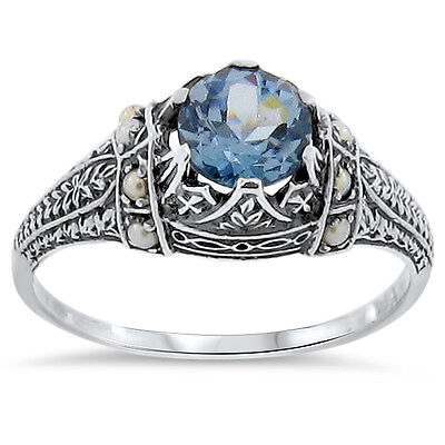 Sim Aquamarine Seed Pearl Antique Victorian Design .925 Silver Ring Size 5,#153