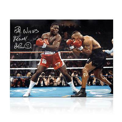 Frank Bruno Signed Boxing Photo: Fighting Mike Tyson