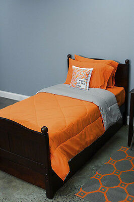 5 Piece Dorm Twin XL Reversible Bed In A Bag Set: Orange and Light Gray