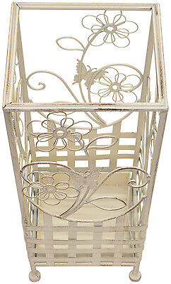 White Traditional Metal Square Floral Walking Stick And Umbrella Stand