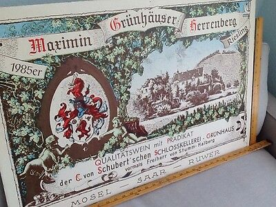 German Winery Co. Poster Board C.von Schubert Grunhaus 1985
