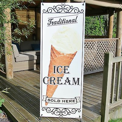 TRADITIONAL ICE CREAM SOLD HERE BANNER DISPLAY SYSTEM Free Standing