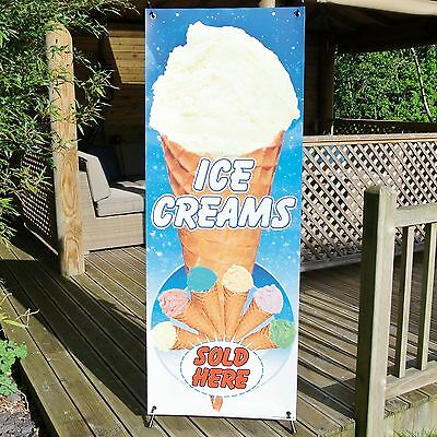 ICE CREAMS SOLD HERE MIXED BANNER DISPLAY SYSTEM Free Standing Weatherproof Sign