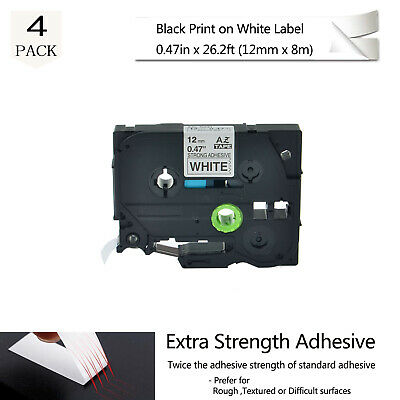 US STOCK 4PK TZeS231 TZ-S231 Black on White Label Tape For Brother P-Touch 12mm
