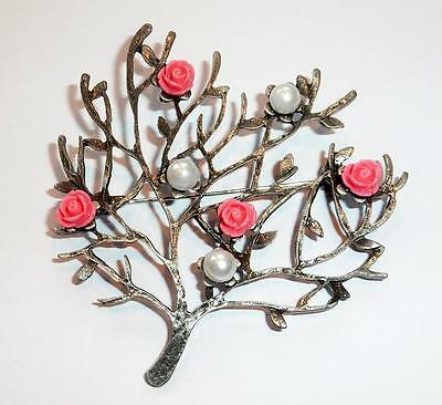 Unusual Pewter Tone Arts Crafts Rose Tree Statement Brooch Pin Arts Craft Style