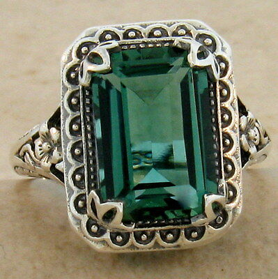 Antique Style Sim Emerald 925 Sterling Silver Ring,                         #891