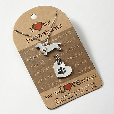 ✜ FOR THE LOVE OF PAWS Necklace and Pet Charm Set Dachshund