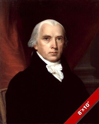 James Madison Us President Portrait American Painting Art Real Canvas Print