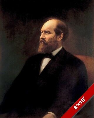 James A Garfield Us President Portrait American Painting Art Real Canvas Print