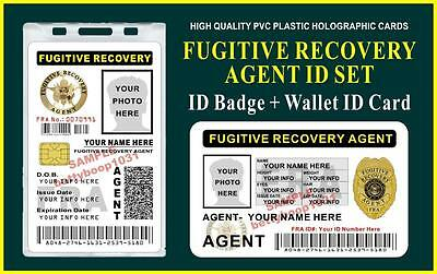 FUGITIVE RECOVERY AGENT ID Badge + Wallet ID Set  *CUSTOMIZABLE* USA 2 PC. SET