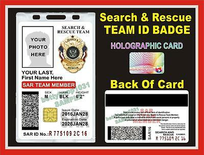 SEARCH AND RESCUE ID Badge/ Card    CUSTOM With Your Photo & Info    PVC SAR USA