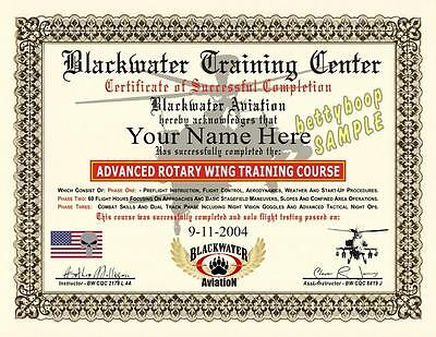 BLACKWATER Diploma / Certificate Prop (ROTARY WING TRAINING COURSE) *Custom*
