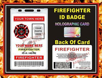 FIREFIGHTER ID Card / Badge (2 Sided) Customizable w/ your Photo & Info - PVC