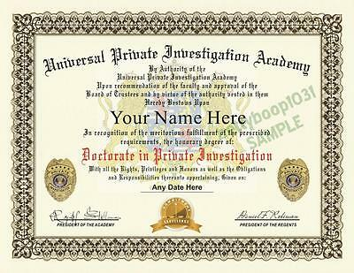 PRIVATE INVESTIGATOR DIPLOMA PROP - (Custom With Your Name) CERTIFICATE - USA