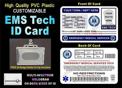 EMS Emergency Medical Services ID Badge / Card  CUSTOM W/ YOUR PHOTO & INFO  PVC