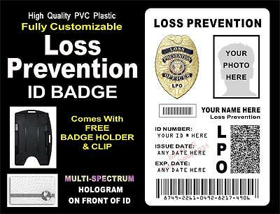 Loss Prevention ID Badge / Card  CUSTOM W/ YOUR PHOTO / INFO ~ Holographic PVC