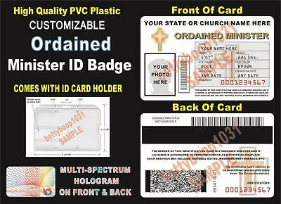 ORDAINED MINISTER ID Badge / Card >Custom W/ Your Photo & Info< Holographic ID