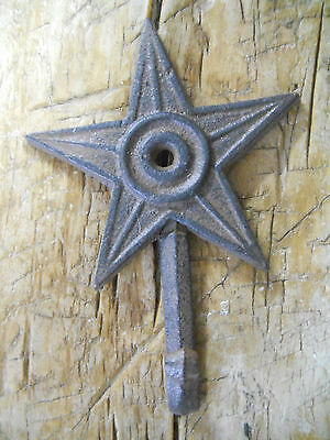 6 Cast Iron STAR Coat Hooks Hat Hook Towel Rack Western Cowboy  Rustic Decor