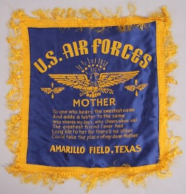 1944 WWII US ARMY AIR FORCES Amarillo Field TEXAS Pillow Case MOTHER