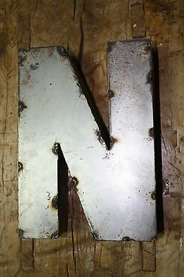 """9"""" RUSTIC Reclaimed Metal Industrial LETTER N 2"""" thick 3D TIN Sign ARCHITECTURAL"""