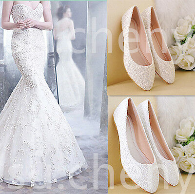 Real silk satin Lace white ivory red Wedding shoes Bridal flat ballet size 5-11