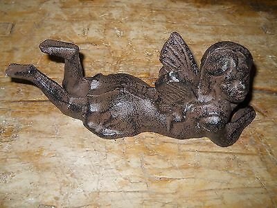 Small Cast Iron Laying Fairy Garden Statue Angel Cherub Pixie Elf Rustic BROWN