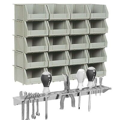 20 Grey Plastic Wall Mountable Storage Bins Bin Kit & Tool Organiser Rack
