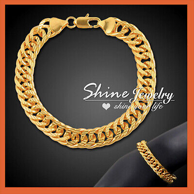 24K Gold Filled Cuban Double Curb Rings Chain Mens Solid Italian Bracelet Bangle
