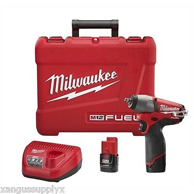 """Milwaukee M12 FUEL 12 Volt 3/8"""" Impact Gun Wrench with 2 Batteries and Charger"""