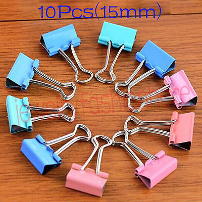 10PCS Colorful Metal Binder Clips Paper Clip 15mm Office Supplies Color Random