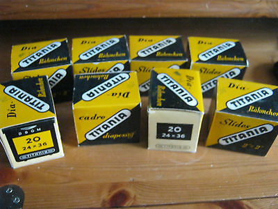 """Box of 20 Titania 2"""" x 2"""" Glass Slide Mounts, new 'old' stock, price marked 7/6"""