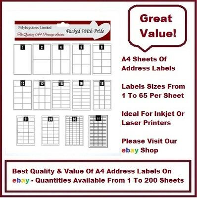 Top Quality A4 Sheets Of Plain Address Labels - Self Adhesive
