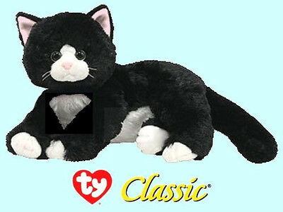 "Ty® 11"" Shadow Classic® Large Black & White Cat CUTE & CUDDLY"