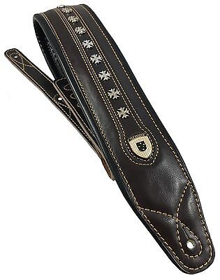 "Genuine Leather Soft Padded ""IRON CROSS""  Guitar Strap Electric, Acoustic, Bass"